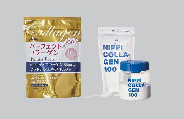 画像: (左から) パーフェクトアスタコラーゲン パウダー プレミアリッチ <228g>¥2,980 味、効果、コスパ、信頼できる企業。だから今これが人気。「人気のコラーゲンパウダーでも今特に評価が高いのがこれ」。16種類の美容成分も配合 アサヒグループ食品 フリーダイヤル:0120-630611 ニッピ コラーゲン 100 <110g×3袋>¥5,400 改めてブレイク中、老舗の コラーゲンはやはり格が違う。「コラーゲンを他社にも提供するスペシャリスト。だから純度が違うと評判」。無味無臭で摂りやすい、コラーゲン100%の粉末 ニッピ コラーゲン化粧品 フリーダイヤル:0120-30-3232