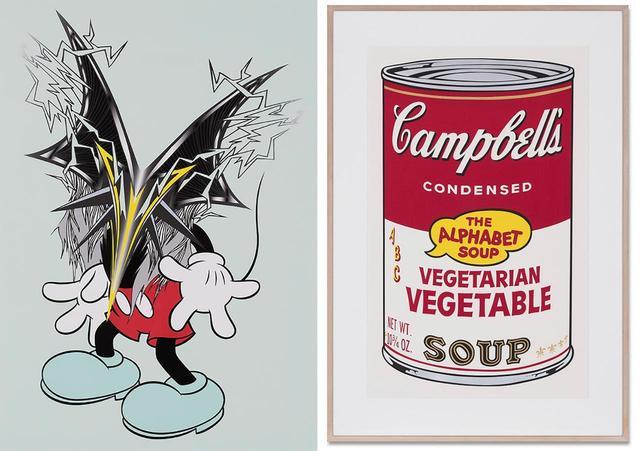 画像: (写真左) MADSAKI 《NOW OR NEVER》 落札想定価格:¥100,000〜¥150,000 (写真右) アンディ・ウォーホル 《Vegetarian Vegetable, from Cambell's soup II》 落札想定価格:¥ 2,500,000〜¥3,500,000