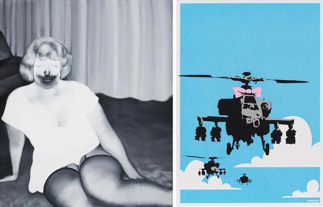画像: (写真左) 五木田智央 《MATURE #2 2017》 落札想定価格:¥20,000,000〜¥30,000,000 (写真右) バンクシー 《Happy Choppers》 落札想定価格:¥1,200,000〜¥2,000,000 PHOTOGRAPHS: COURTESY OF SBI ART AUCTION