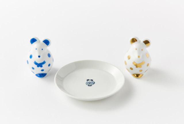 画像: せっせとねずみ(青) ¥4,500、せっせとねずみ(金) ¥5,500※、豆皿 ¥1,300 ※ 直営店、公式オンラインショップ限定商品