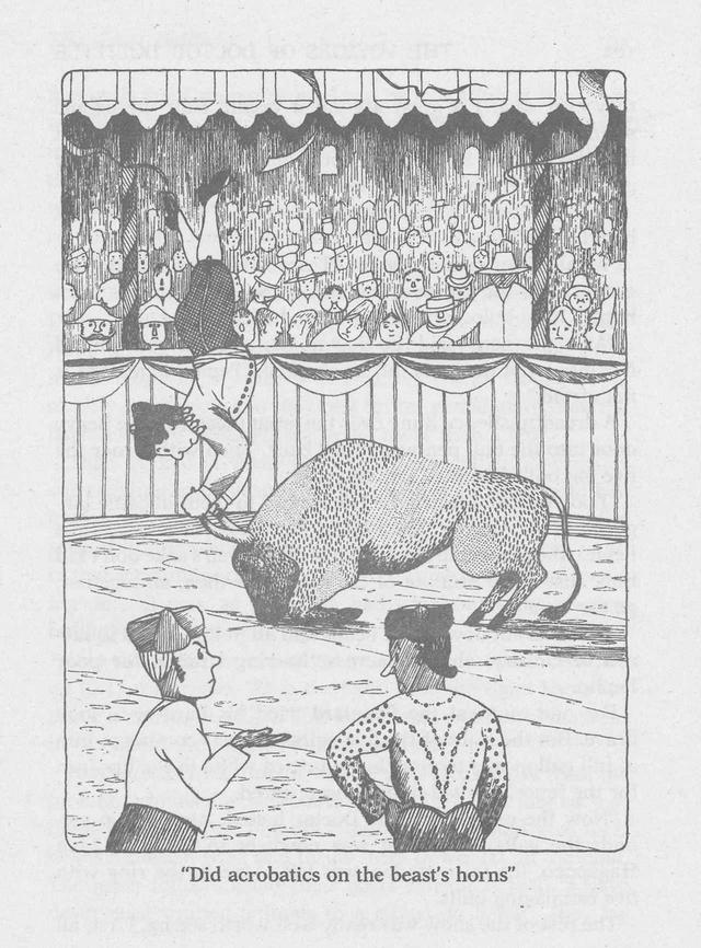 画像: スペインにて。「闘牛は野蛮でおぞましい見世物だ」と怒ったドリトル先生が、牛たちと示し合わせて闘牛を辞めさせようと画策。牛の角をつかんで逆立ちし、闘牛士たちを煙に巻く軽業シーンに、福岡さんは「ドリトル先生は意外と若い」と新訳での年齢設定を若返らせたという ILLUSTRATION BY HUGH LOFTING