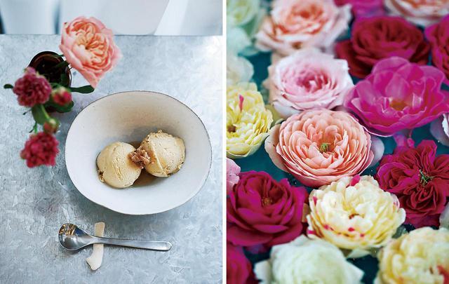 画像: (写真左)食用の薔薇を茶葉やシロップなどに加工し、スイーツほかさまざまなメニューを展開。ダマスクローズが香る「WABARA ジェラート」¥650 (写真右)ファームの薔薇をプールに浮かべてすくう「和ばらすくい」は、夏のカフェで人気