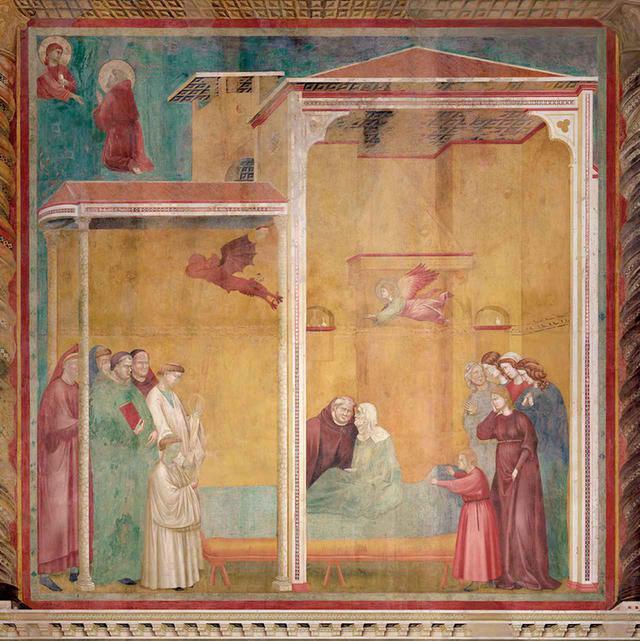 """画像: GIOTTO DI BIDONE, """"ST. FRANCIS REVIVES THE UNATONED WOMAN TO FACILITATE HER CONFESSION,"""" FRESCO, CIRCA 1297-99, ASSISSI, ITALY © RAFFAELLO BENCINI/ BRIDGEMAN IMAGES"""