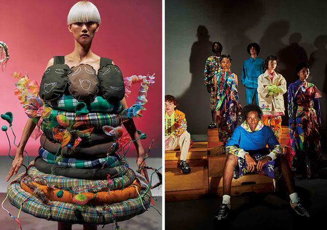 画像: FACE.A-Jに参加した日本のデザイナーの作品。左は山縣良和が手がけるcoconogaccoから選出された若手デザイナーユニットCOYOTEの作品。右はイエール国際モード&写真フェスでグランプリ受賞のWataru Tominaga