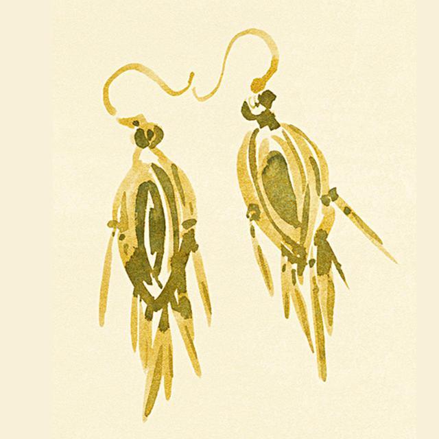 画像: ゴールドのビクトリア朝のイヤリング、1850年代