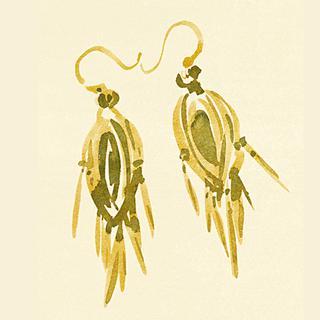 ゴールドのビクトリア朝のイヤリング、1850年代
