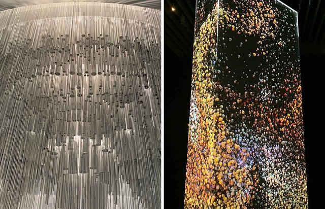 画像: (写真左から)ミハエル・ハンスマイヤーの作品《ムカルナスの変異》(2019年)、アウチの《データモノリス》(2018/2019年)のディテール PHOTOGRAPH BY MASANOBU MATSUMOTO