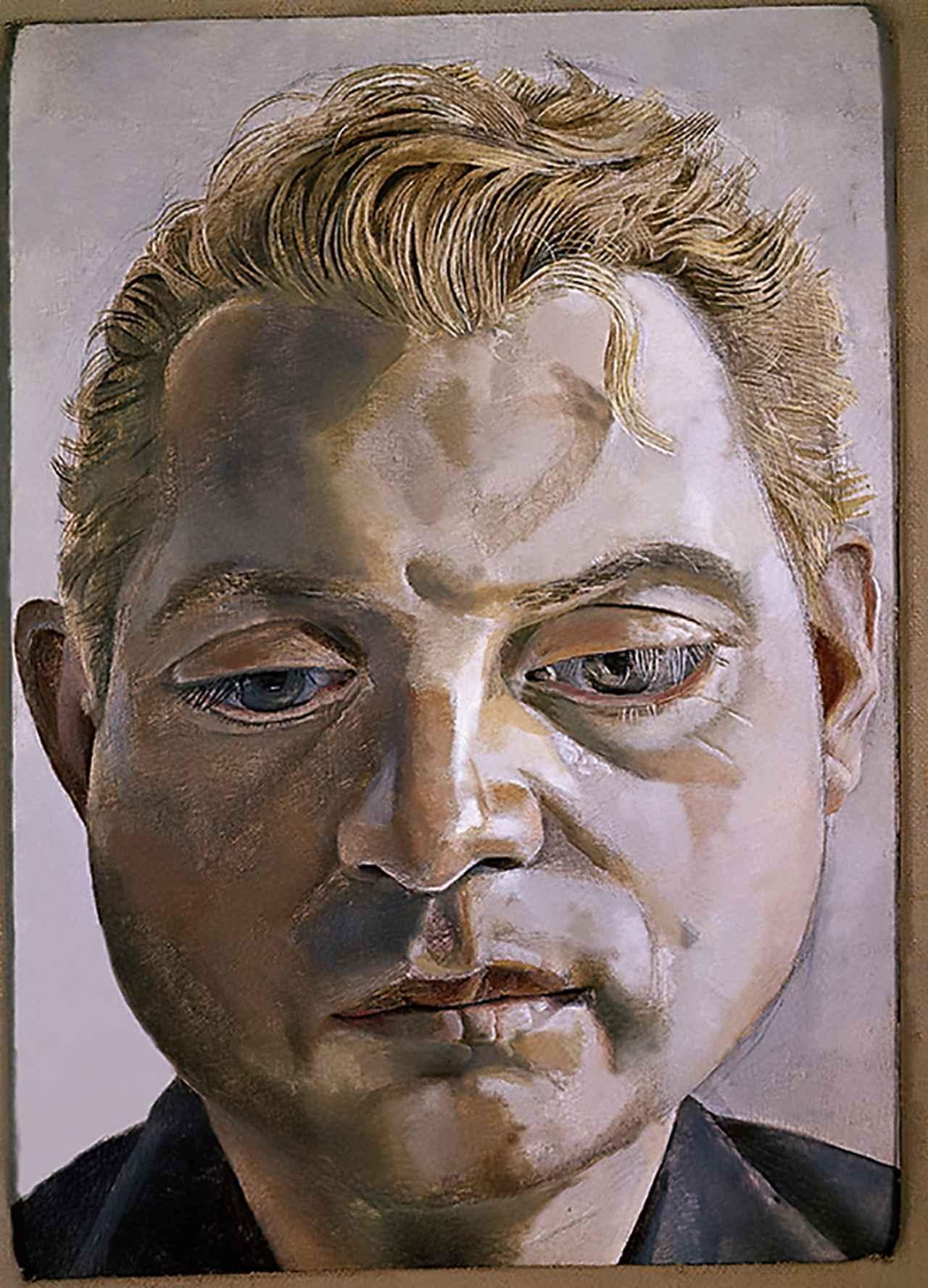 """画像: フロイドによるベーコンの肖像画。1964年制作。ふたりは交友関係が始まって間もなく作品の交換を始めた LUCIAN FREUD, """"FRANCIS BACON,"""" 1952, PAINTING STOLEN IN 1988 DURING AN EXHIBITION IN BERLIN, ALBUM/ART RESOURCE, N.Y. © THE LUCIAN FREUD ARCHIVE/ALBUM/ORONOZ/NEWSCOM"""