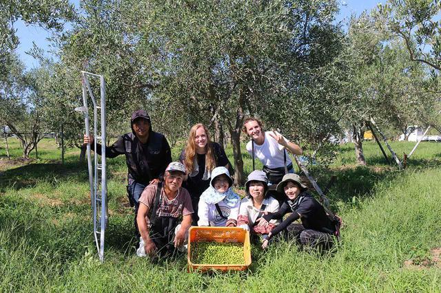 画像: 作家のリュズ・モレノとアナイス・シルベストロ。小豆島のオリーブ農家の人たちとともに