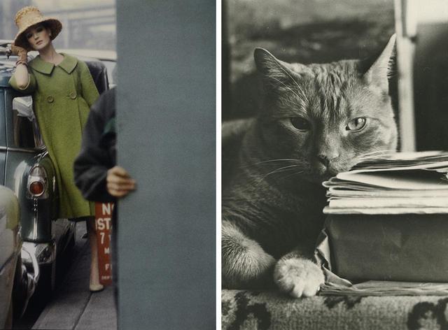 画像: (写真左)《『Harper's BAZAAR』》 1959年2月号、発色現像方式印画 (写真右)《無題》 撮影年不詳、ゼラチン・シルバー・プリント Ⓒ SAUL LEITER FOUNDATION