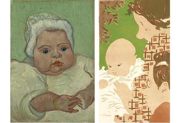 画像: (左) フィンセント・ファン・ゴッホ 《マルセル・ルーランの肖像》 1888年 油彩/カンヴァス ファン・ゴッホ美術館蔵 VAN GOGH MUSEUM, AMSTERDAM (VINCENT VAN GOGH FOUNDATION) (右) ピエール・ボナール 《家族の情景》 1893年 リトグラフ/紙 三菱一号館美術館蔵