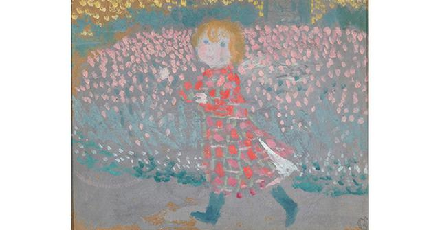 画像: モーリス・ドニ 《赤いエプロンドレスを着た子ども》 1897年 油彩/厚紙 個人蔵 PHOTOGRAPHS: COURTESY OF MITSUBISHI ICHIGOKAN MUSEUM, TOKYO