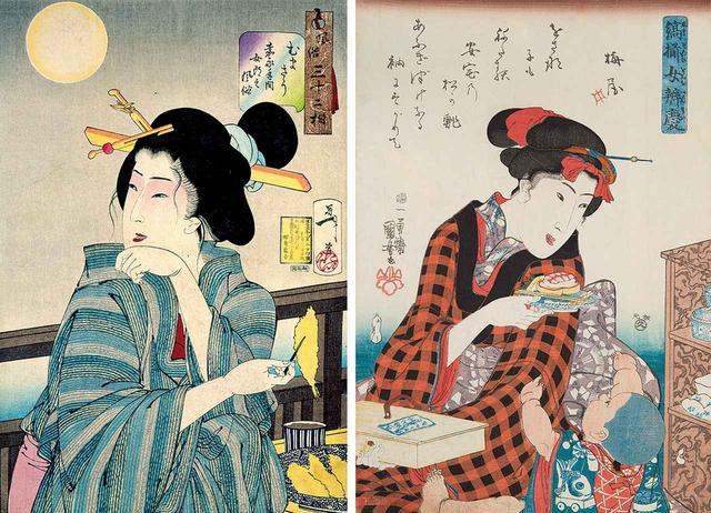 画像: (写真左) 《風俗三十二相 むまさう 嘉永年間女郎之風俗》月岡芳年 (味の素食の文化センター蔵) 国芳の門弟で幕末・明治期に活躍した月岡芳年による美人画。むまさう=おいしそう、ということで天ぷらを前にした彼女の表情はとろけんばかり (写真右) 《縞揃女弁慶 松の鮨》歌川国芳 (味の素食の文化センター蔵) 母の膝には江戸の名店「松の鮨」の折り詰め。お皿には海老の握りに玉子巻き、一番下には小肌の握り。当時は握りずしを積み上げるように盛り付けた