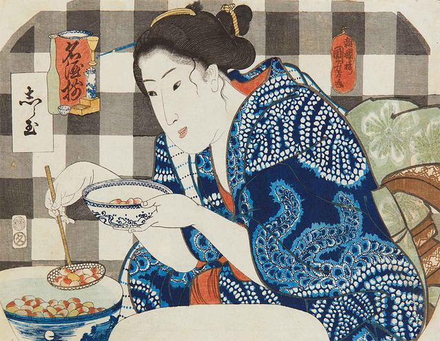 画像: 《名酒揃 志ら玉》歌川国芳 (江戸ガラス館蔵) 武者絵を得意とした国芳はいきいきとした人物表現が持ち味。目の輝きやちょっとした仕草から白玉を前に心弾ませる女性を魅力的に描き出す
