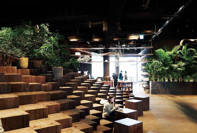 画像: 有機的な空間は建築家、田根 剛によるもの。階段状に並ぶ四角い無垢材は、使い手次第で椅子にもテーブルにもなる