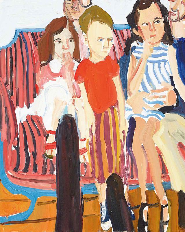 """画像: 今回、この特集のために女性アーティストが2作品を描き下ろし。油彩ポートレート『私とエムとナット』(2020年)。ロンドン在住のシャンタル・ジョフィが、子どもだった1970年代当時の自身とその姉妹を描いたもの CHANTAL JOFFE, """"ME, EM AND NAT,"""" 2020, OIL ON BOARD © CHANTAL JOFFE, COURTESY OF THE ARTIST AND VICTORIA MIRO"""