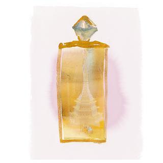 ゴールド、クリスタル、マザーオブパールでできた彫刻。制作年代は不明
