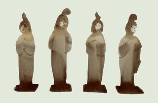 陶器でできた女性型の埋葬品、唐時代の中国、7世紀頃