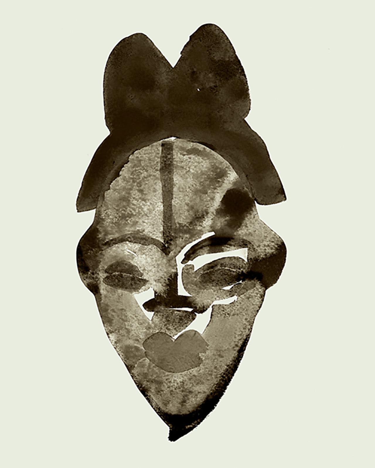 画像: 木製の仮面、プヌ族、ガボン共和国、17世紀頃