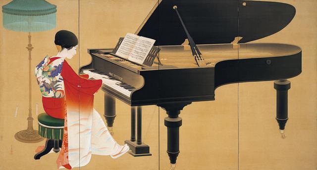 画像: 中村大三郎《ピアノ》1926 美人画を多く残した、京都の日本画家・中村大三郎の代表作。ピアノを弾く妻を描いている。『京都の美術 250年の夢 最初の一歩:コレクションの原点』に出品 COURTESY OF THE KYOTO CITY MUSEUM OF ART