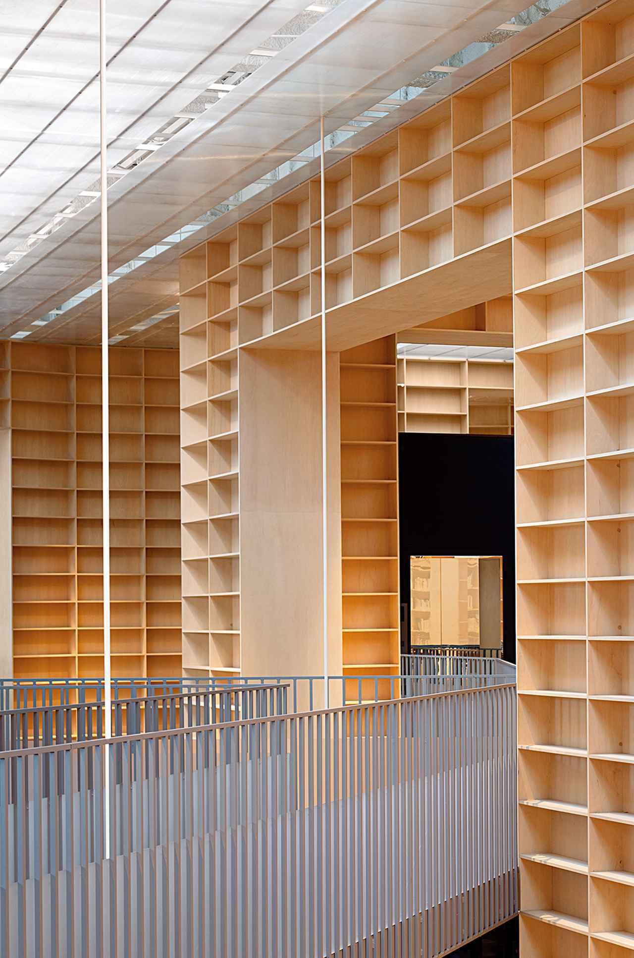 画像: 巨大な書架の壁に囲まれた、武蔵野美術大学の美術館・図書館(2010年竣工)