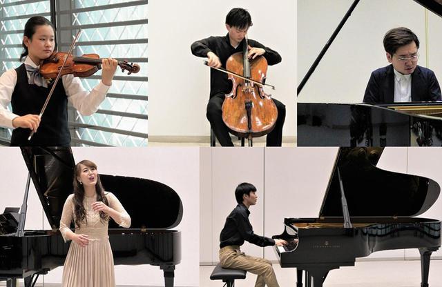 画像: 2020年のプログラムに選出された5名の音楽家。(左上から時計回りに)前田妃奈(ヴァイオリン)、水野優也(チェロ)、平間今日志郎(ピアノ)、八木大輔(ピアノ)、鈴木玲奈(ソプラノ) © CHANEL