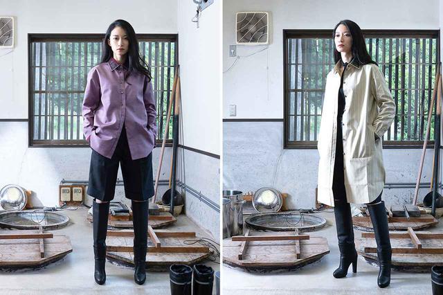 画像: (写真左)クラシックシャツ 仕立て代 ¥110,000+反物代(メンズ、ウィメンズ展開/写真は衿とカフスに螺鈿織を施したバージョン。通常は仕立て代 ¥40,000+反物代) (写真右)シャツコート 仕立て代 ¥140,000+反物代(メンズ、ウィメンズ展開/写真は衿とカフスに螺鈿織を施したバージョン。通常は仕立て代 ¥70,000+反物代) ※ロングコート以外はひとつの反物から2着の仕立てが可能(ただしアイテムの組み合わせによる) PHOTOGRAPHS: COURTESY OF ARLNATA