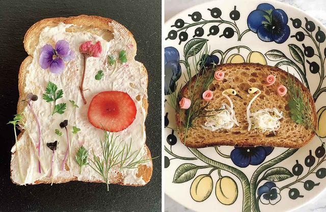 画像: (写真左)「押し花トースト」。水切りヨーグルトをベースに、植物図鑑風に配置 (写真右)「しらすのスワントースト」