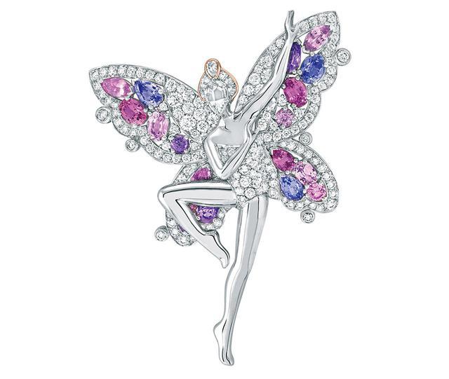 画像: フェデ パピヨン クリップ ¥31,416,000(参考価格) <WG、RG、ダイヤモンド、ピンクサファイア、モーヴサファイア> 発売中の新作は全7型。蝶やイチョウからインスピレーションを得て、誕生した