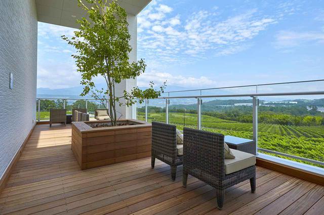 画像: 360度ブドウ畑が見渡せるテラスでは、ワイン・テイスティングとおつまみなどを楽しむことができる。「日替わりおつまみ」は¥100~¥500<数量限定>
