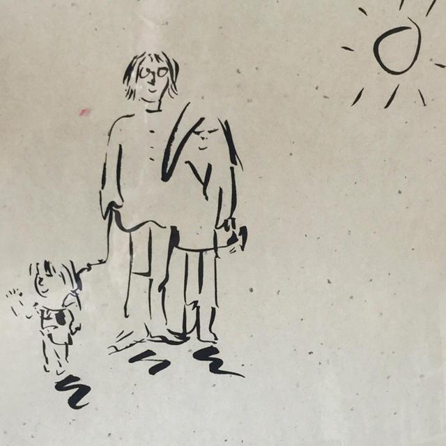 画像: ヨーコから湯川に贈られた、ジョンのリトグラフ。小さなショーンとジョンとヨーコ。晴天 COURTESY OF REIKO YUKAWA