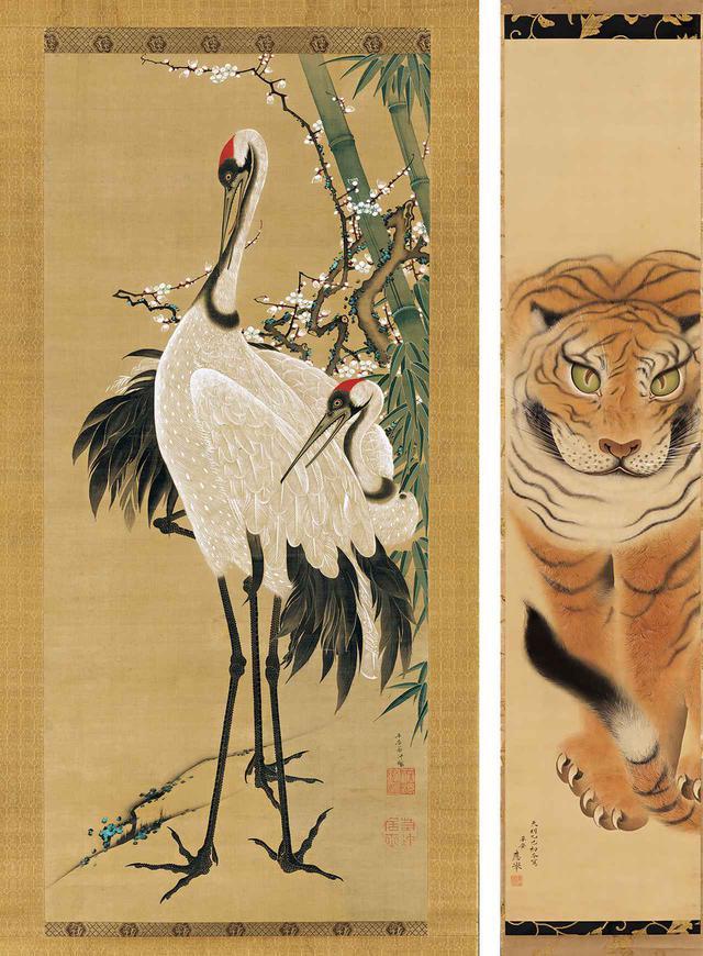 画像: 動物はジョー氏が好んで集めたモチーフの一つだ (写真左)《竹梅双鶴図》 伊藤若冲 一幅 絹本着色 江戸時代18世紀 (写真右)《虎図》 円山応挙 一幅 絹本着色 天明5年(1785年) 所蔵:出光美術館