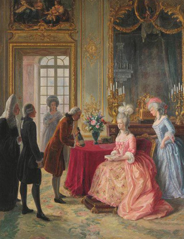画像: マリー・アントワネットにシャンパーニュを献上しているのが創設者のフローレンス=ルイ・エドシック。当時は新進気鋭の小さな造り手だった。マリー・アントワネットの自由なセレクト・センスに驚かされる