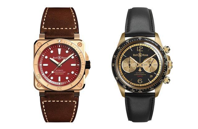 画像: (左)ベル&ロス「BR 03-92 ダイバー バーガンディ ブロンズ」¥520,000(限定99本) <ケースサイズ 42×42mm、ブロンズ、自動巻き、カーフストラップ(ラバーストラップ付属)> スクエア型で300m防水を実現したブロンズ製ダイバーズの新作は、日本限定のバーガンディダイヤル。正方形にはめ込まれた丸いダイヤルを赤に染め、日の丸をイメージした (右)ベル&ロス「BR V2-94 ベリータンカー ブロンズ」¥620,000(限定500本) <ケース径41mm、ブロンズ、自動巻き、カーフストラップ> ダイヤルも含め、外装の全体をブラック×ブロンズのバイカラーに。ベゼルにはタキメーターを刻んだ2カウンターとし、レトロなレーシングクロノグラフに仕立てた PHOTOGRAPHS:COURTESY OF BELL & ROSS ベル&ロス ジャパン TEL. 03(5977)7759 公式サイト