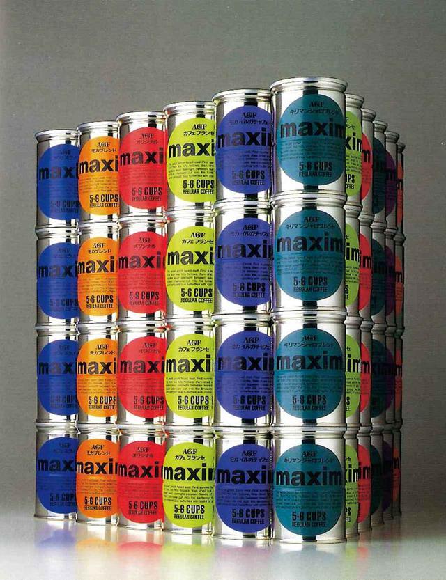 画像: 石岡瑛子パッケージ「maxim」(味の素ゼネラルフーヅ、1989年)アートディレクション、デザイン(倉俣史朗と共同) 提供:公益財団法人DNP文化振興財団