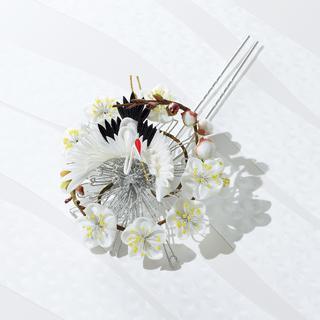 hanakitanの「白梅と鶴のかんざし」