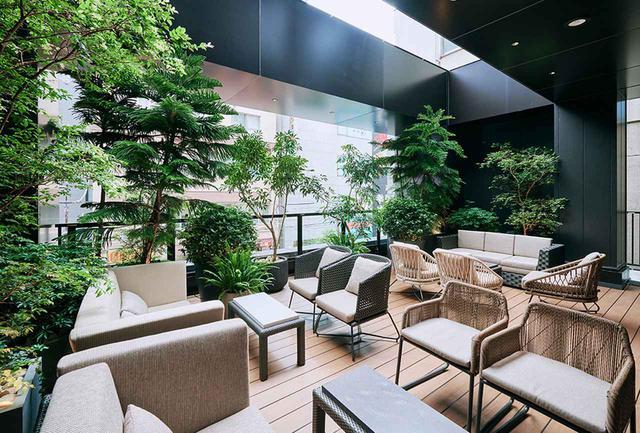 画像: 吹き抜けの2階には、緑の植栽が快適なプライベート感あふれるオープンテラス席があり、パーティープランなどでも利用できる