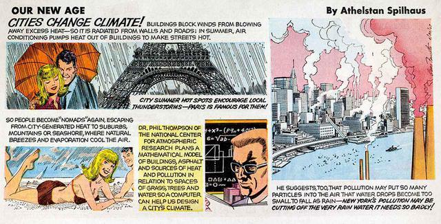 """画像: アセルスタン・スピルハウス原作のノンフィクション・コミック『Our New Age』より。1958~'75年に多数の媒体に同時掲載され、環境災害に対する人々の意識を高めた ATHELSTAN SPILHAUS, """"OUR NEW AGE,"""" 1967, COURTESY OF """"THE EXPERIMENTAL CITY,"""" A DOCUMENTARY"""