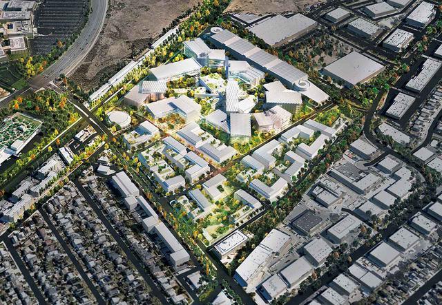 画像: 「Facebookウィロー・キャンパス」の都市計画(アメリカ・カリフォルニア州)。住宅、小売店、オフィスに加え、地元住民も使える公園や学校などを併設し、地域密着型のコミュニティを創出 © OMANY
