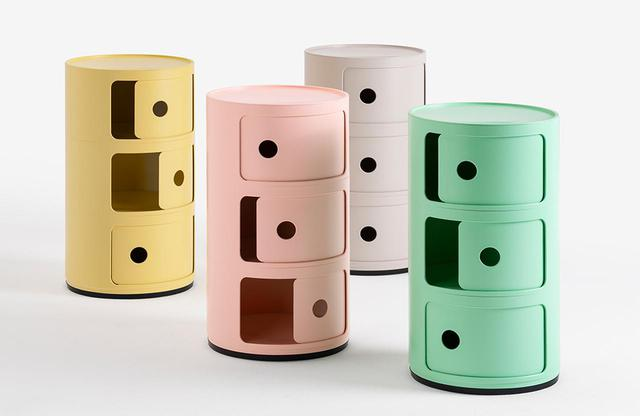 画像: カルテル「コンポニビリ・ビオ」<全4色>¥30,700 生分解性プラスチックを使用。(左から)イエロー、ピンク、クリーム、グリーン COURTESY OF KARTELL