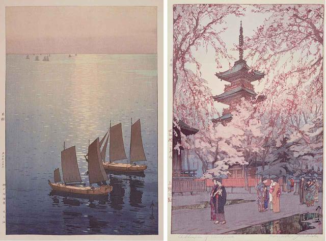 画像: (写真左)《瀬戸内海集 光る海》大正15(1926)年 木版、紙 37.2×24.7cm (写真右)《上野公園》昭和13(1938)年 木版、紙 37.6×24.8cm