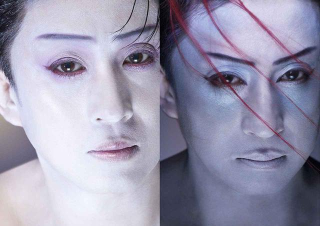 """画像: (写真左)T JAPANの表紙を飾った、松本幸四郎の新しい歌舞伎メイク (写真右)歌舞伎らしい直線的な眉は生かしつつ、冷たいニュアンスを放つ青みの強いベースで、""""色悪""""をよりクールに進化させた一枚"""