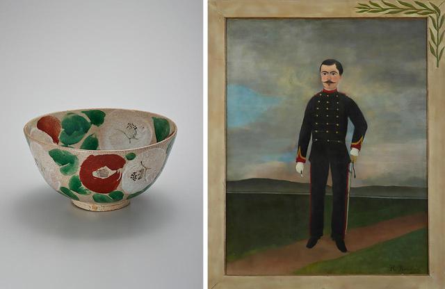画像: (写真左)北大路魯山人《椿文鉢》 1940年頃 陶器 世田谷美術館蔵 撮影:上野則宏 (写真右)アンリ・ルソー《フリュマンス・ビッシュの肖像》 1893年頃 カンヴァス、油彩 世田谷美術館蔵