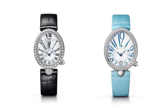 画像: (左)「クイーン・オブ・ネイプルズ 8928」¥3,910,000 <33×24.95mm/18KWG、ダイヤモンド、マザー・オブ・パール、自動巻き、アリゲーターストラップ> ベゼルとダイヤルのフランジに加え、ストラップを留めるラグにもダイヤモンドを敷き詰めた。ダイヤルは、マザー・オブ・パール製。ブレゲ針を置くダイヤル外周には、ギヨシェ彫りが施されている (右)「クイーン・オブ・ネイプルズ 8918」¥4,050,000 <36.5×28.45mm / 18KWG、ダイヤモンド、自動巻き、アリゲーターストラップ> 伝統的なグラン・フー・エナメル製のダイヤルに、デフォルメされたブレゲ数字が印象的に踊る。6時位置にはケースと同じオーバル型のダイヤモンドをセット PHOTOGRAPHS:COURTESY OF BREGUET