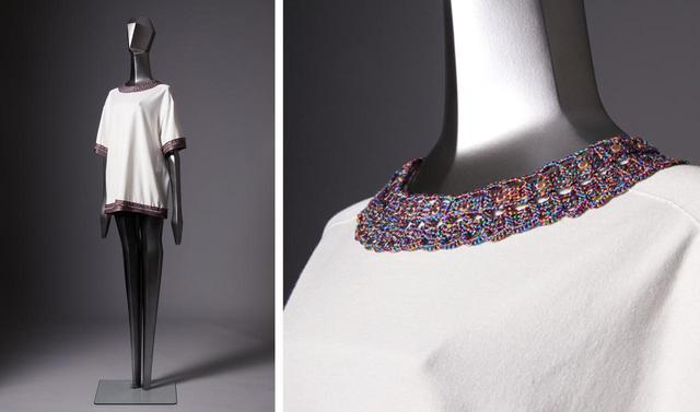画像: ニット¥176,000※ ボディと装飾パーツを合わせた価格 ボディは3Dニッティングマシン編み上げたオーガニックコットンのニット。襟元、袖、丈部分の装飾パーツは、着物に使われる桐生産の絹糸を手編みしてできている