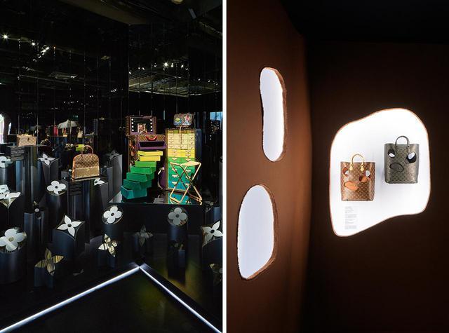 画像: メゾンのアイコン「モノグラム」誕生100 年目にあたる1996年、また2014年に発表されたコラボレーション。カール・ラガーフェルド、シンディ・シャーマンらが「モノグラム」を再解釈してアイテムをデザインした。 右は川久保 玲による「バッグウィズ ホールズ」シリーズ