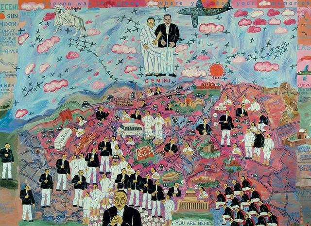 画像: アルピタ・シン《私のロリポップ・シティ:双子の出現》2005年 油彩、キャンバス 152.4×213.3cm インドでは国民的画家として人気のあるアルピタ・シン 所蔵:ヴァデラ・アート・ギャラリー(ニューデリー)