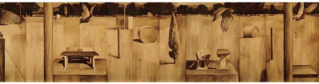 画像: ロビン・ホワイト&飯村惠以子《夏草》2001年 油彩、壁紙 156×624cm 飯村惠以子との共作。古い壁紙を用いた12枚のパネルに油彩で静物を描いた 所蔵:アラトイ・ワイララパ美術館・歴史博物館(マスタートン)