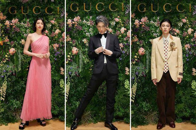 画像: (左から)プレビューに登場した女優の三吉彩花、ミュージシャンのMIYAVI、歌舞伎俳優の市川染五郎 PHOTOGRAPHS: COURTESY OF GUCCI