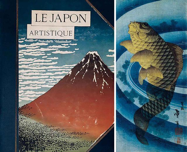 """画像: (写真左)美術商ジークフリート・ビング発行、美術界に多大な影 響を与えた日本美術専門誌『LE JAPON ARTISTIQUE』(1889~90年) AKG-IMAGES (写真右)二代葛飾戴斗の魚の木版画(1840年代頃) KATSUSHIKA TAITO II, """"CARP SWIMMING UPWARDS,"""" CIRCA 1840S, WOODBLOCK PRINT, VICTORIA AND ALBERT MUSEUM, LONDON, U.K./V&A IMAGES, LONDON/ART RESOURCE, NY"""